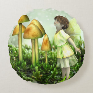 The Curious Fairy - Vintage Fairy and Toadstools Round Pillow