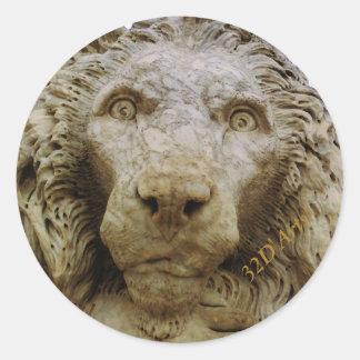The Curious Lion of Massa, Round Sticker, Glossy Classic Round Sticker