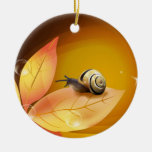 The curious Snail Double-Sided Ceramic Round Christmas Ornament