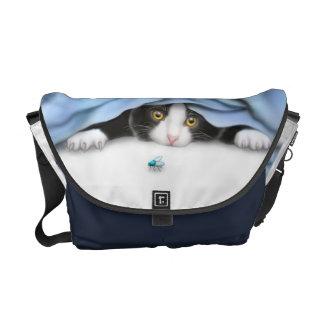 The Curious Tuxedo Kitten Rickshaw Messenger Bag