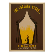 The Curtain Rises Theatre 1942 WPA Vintage Poster