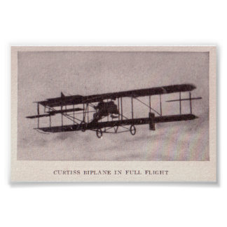 The Curtis Biplane in Full Flight Poster