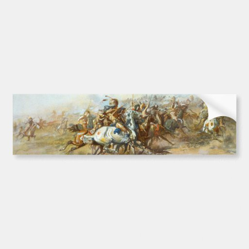 The Custer Fight by Charles Marion Russell Bumper Stickers
