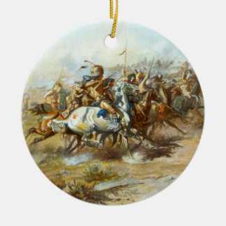 The Custer Fight by Charles Marion Russell Ceramic Ornament