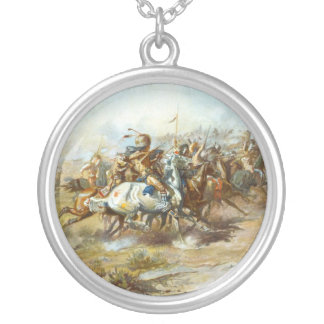 The Custer Fight by Charles Marion Russell Round Pendant Necklace