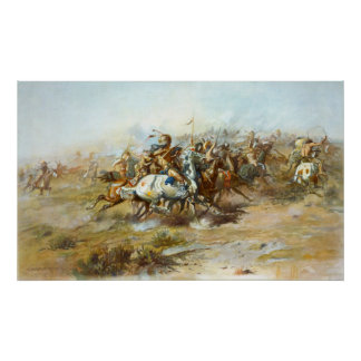 The Custer Fight by Charles Marion Russell Poster