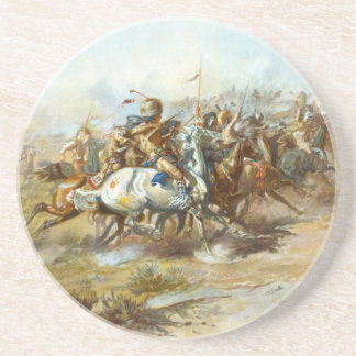 The Custer Fight by Charles Marion Russell Sandstone Coaster