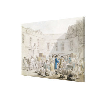 The Customs House at Boulogne (w/c with pen and gr Canvas Print