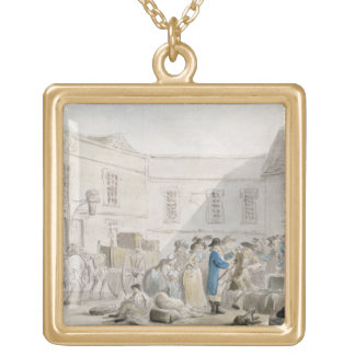 The Customs House at Boulogne (w/c with pen and gr Square Pendant Necklace