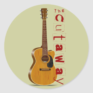 The Cutaway Acoustic Guitar Classic Round Sticker
