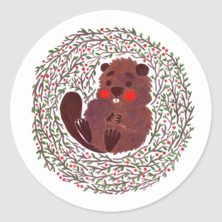 The Cute Baby Beaver Classic Round Sticker