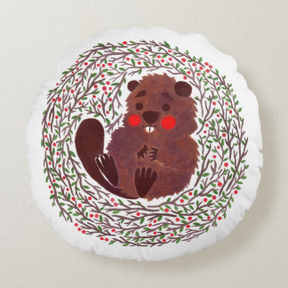 The Cute Baby Beaver Round Pillow