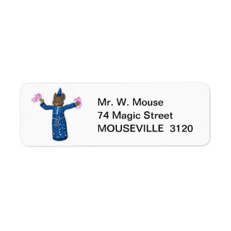 The Cute Cartoon Wizard Mouse Label
