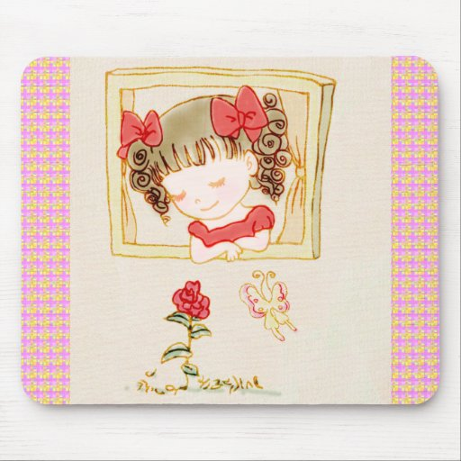 The cute girl looking the red rose mouse pad