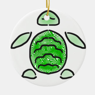 The Cute Green Sea Turtle Double-Sided Ceramic Round Christmas Ornament