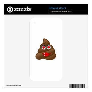 The Cute In-Love Poop Emoji iPhone 4 Decal