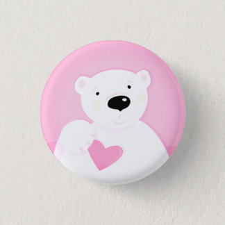 The cute little bear with Heart Pinback Button