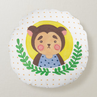 The Cute Monkey Round Pillow