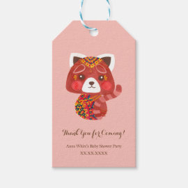 The Cute Red Panda Baby Shower Favor Tags