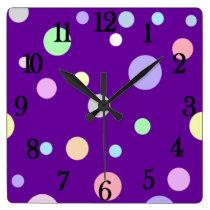 The Cutest Pastel Polka Dots Pattern Square Wall Clock