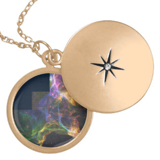 The Cygnus Loop Nebula- Shockwave from a Stellar E Round Locket Necklace