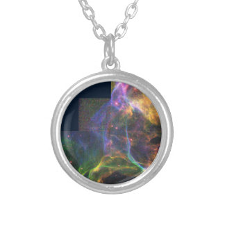 The Cygnus Loop Nebula- Shockwave from a Stellar E Round Pendant Necklace