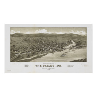 The Dalles Oregon 1884 Antique Panoramic Map Poster
