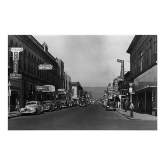 The Dalles, Oregon Main Street Town View Poster