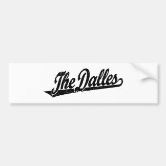 The Dalles script logo in black distressed Bumper Sticker