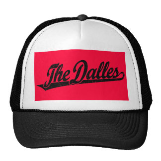 The Dalles script logo in black distressed Trucker Hat