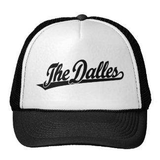 The Dalles script logo in black Trucker Hat