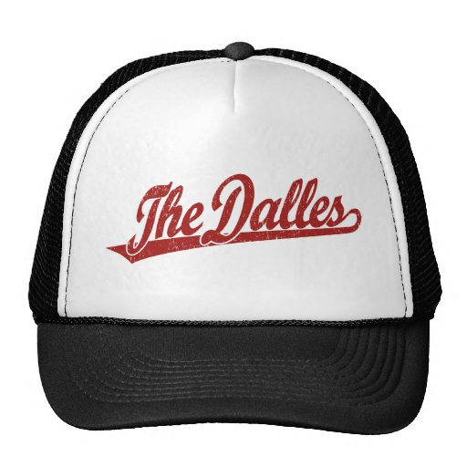 The Dalles script logo in red distressed Trucker Hat