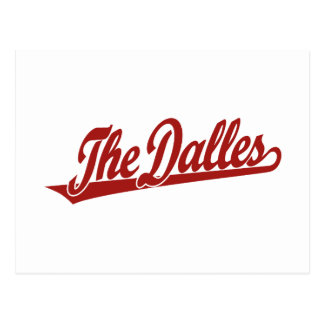 The Dalles script logo in red Post Cards