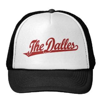 The Dalles script logo in red Trucker Hat