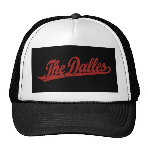 The Dalles script logo in white distressed Mesh Hats