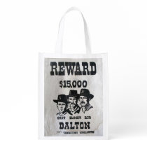 The Dalton Gang Wanted Poster Grocery Bag