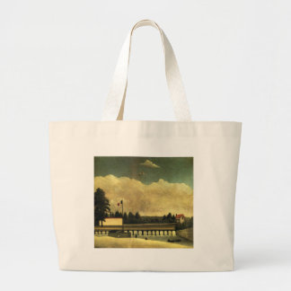 The Dam by Henri Rousseau Large Tote Bag