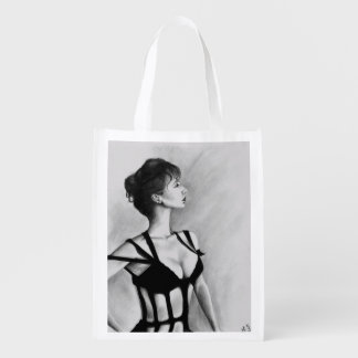 The Dame Sexy Woman Black Dress Portrait Art Grocery Bag
