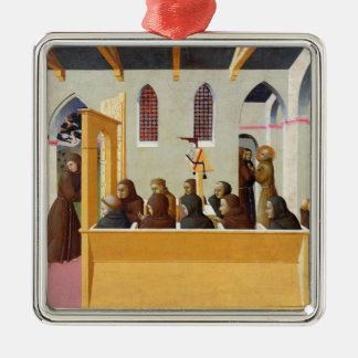 The Damnation of the Soul of the Miser of Square Metal Christmas Ornament