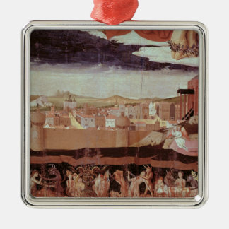 The Damned in Hell Square Metal Christmas Ornament