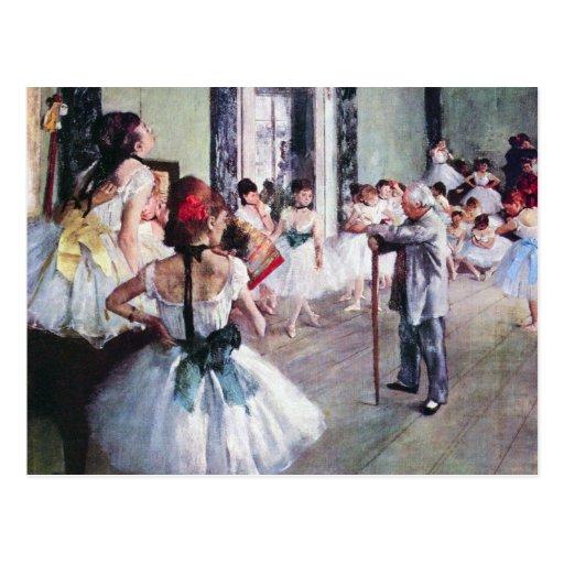 The Dance Class by Edgar Degas, Vintage Ballet Art Postcard