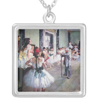 The Dance Class by Edgar Degas, Vintage Ballet Art Silver Plated Necklace