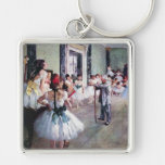 The Dance Class by Edgar Degas, Vintage Ballet Silver-Colored Square Keychain
