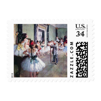 The Dance Class by Edgar Degas, Vintage Ballet Stamp
