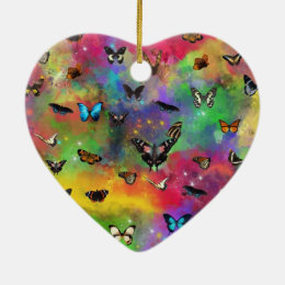 the dance of the butterflies ceramic ornament