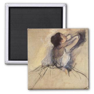 The Dancer by Edgar Degas, Vintage Ballerina Art 2 Inch Square Magnet