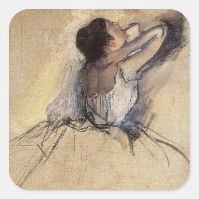 The Dancer by Edgar Degas, Vintage Ballerina Art Square Sticker