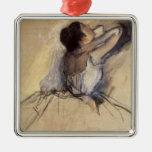 The Dancer by Edgar Degas, Vintage Ballet Art Square Metal Christmas Ornament