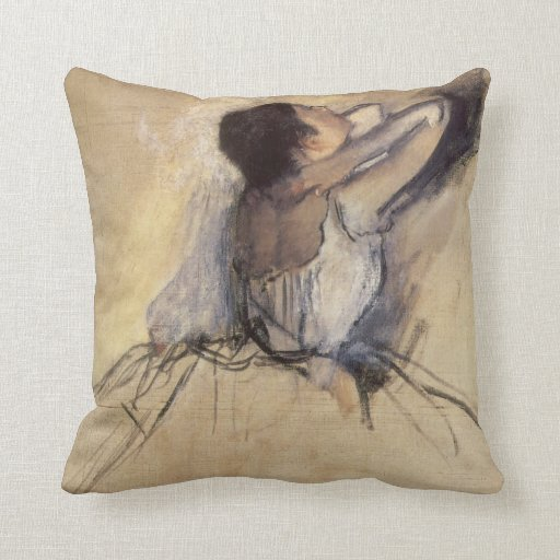 The Dancer by Edgar Degas, Vintage Ballet Art Throw Pillows