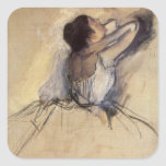 The Dancer by Edgar Degas, Vintage Ballet Art Square Stickers